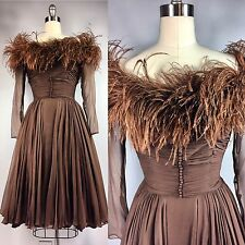 Vintage 1950s Brown Chiffon Cocktail Party Dress Ostrich Feathers 36 Bust