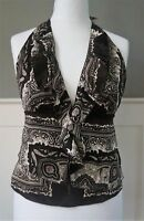 BEAUTIFUL BROWN & CREAM HANDKERCHIEF TOP WOMENS Size 10 Halterneck Summer Top