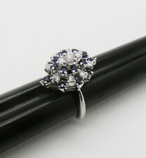 14kt Diamond and Sapphire Cluster Ring