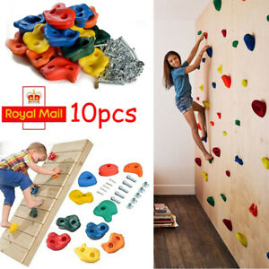 10X Rock Climbing Holds Wall Stones Grip In/Outdoor Kids Playground With Screws