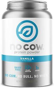 No Cow Vegan Protein Powder, Vanilla, Large 2lb Plant Based, Non Dairy, Soy Free