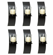 WALL SCONCE SET: 6 Mod-Art Matte Black Votive Candle Holders NEW
