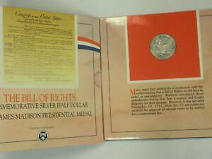 1993 US Mint Bill of Rights Commemorative Silver Half Dollar Coin and Medal Set