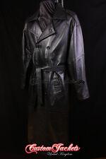 Para hombres Cuero Negro Piel De Cordero Largo Completo Abrigo Chaqueta Larga de abrigo largo