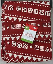 Christmas 60x84 Red & White with Joy & Peace Oblong Tablecloth NWOT