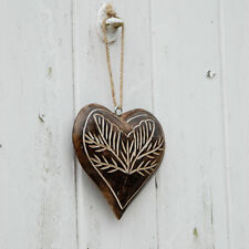 Fair Trade Mango Wood Wooden Heart Hanging Leaf Design-Eco Friendly, Sustainable