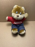 Vintage Shoney's Bear Plush Toy 1995 Denim Overalls & Red Shirt
