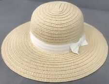NWT Woven White Bow Beach Spring Straw Hat Gymboree Baby Girls Size 0-3 months