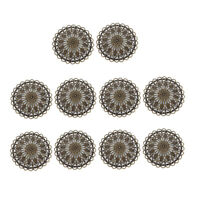 36 mm Antique Brass Round Hollow Filigree Charms Pendants DIY Jewelry 10 Pcs