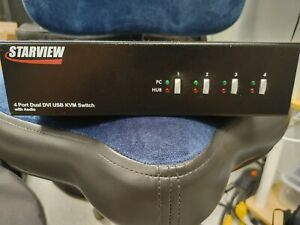4Port Dual DVI USB-KVM Switch w/Audio, Startech Starview  SV431DVIDDU w/CABLES!