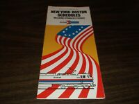 OCTOBER 1975 AMTRAK NEW YORK TO BOSTON SCHEDULES PUBLIC TIMETABLE