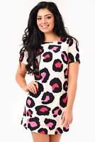 John Zack Leopard print shift dress  in Pink or Purple