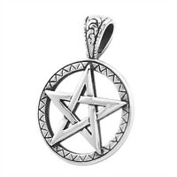 Anhänger Pentagramm Stern Edelstahl Halskette Lederkette Kugelkette Gothic