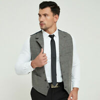 Mens Formal Casual Waistcoat Waistcoats Wool Blend Tweed Vest Jacket Gilet