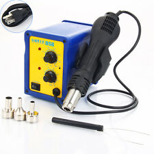 858 SMD Electric Rework Soldering Station Iron Kit w Hot Air Gun LED Light 110V