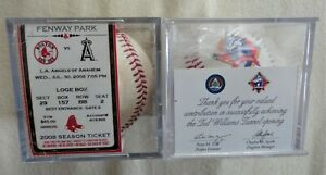 1995 Ted Williams Baseball Tunnel Opening + 2008 Red Sox Game Used Ball Ticket