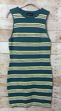 New Topshop knit dress us 8 uk 12 bodycon stretch striped sleeveless green