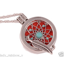 Aromatherapy Necklace Essential Oil Locket Necklace Feather Turquoise Diffuser