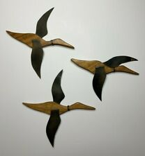 Vintage Mid-Century Wooden Flying Mallard Duck Goose Wall Hanging Lot of 3