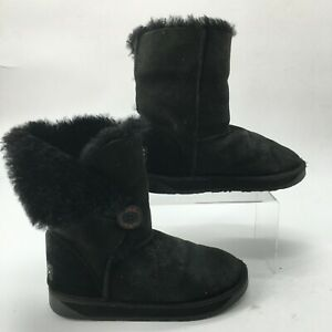 UGG Womens 7 Pacific Sheepskin Winter Pull On Boots Black Suede Fur Button