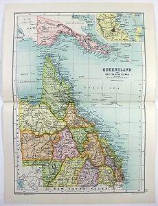 Queensland, Australia - Original 1909 Map by John Bartholomew