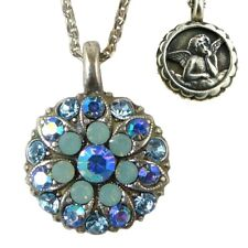 Mariana Guardian Angel Crystal Pendant Silver Necklace 26770 Opal Blue