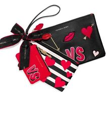Bnwts Victoria's Secret Valentine's Day Makeup Cosmetic Wristlet Bag Trio