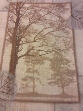 Natures Elements Trees Leaves Shower Curtain Creamy Beige,Brown,Silver Grey New