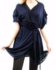 Hamish Morrow Women's Merino Tucked Sleeve Wrap Cardigan Navy Size L BCF511