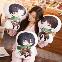 Anime Attack on Titan Pillow Cushion Eren Jäger Mikasa Levi Plush Toy Doll Gift
