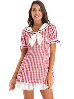 Womens Sailor Collar Plaid Dress Short Sleeve Double Layers Party Mini Dress