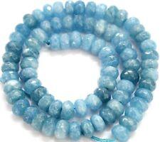 "5x8mm Faceted Natural Aquamarine Gemstones Rondelle Loose Beads 15"" PL224"