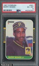 BARRY BONDS 1987 DONRUSS BASEBALL ROOKIE CARD #361 GRADED PSA 6 EX-MT