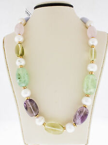 14K Yellow Gold Blue Agate Lemon and Rose Quartz White South Sea Pearls Necklace