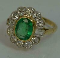 1.80 Ct Emerald & Diamond Cluster Art Deco Vintage Ring 14K Yellow Gold Finish