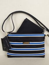 623e2d9390f TOMMY HILFIGER TWICE AS NICE BLUE WHITE BLACK STRIPE CROSSBODY PLUS POUCH  BAG