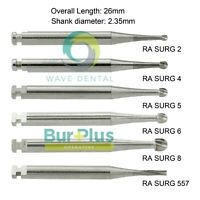 Prima Wave Dental Tungsten Carbide Surgical Bur RA Round Flat Fissure SURG 26mm