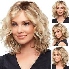 Women Lady Blonde Wave Wigs Ombre Short Hairs Curly Party Cosplay Wigs Synthetic