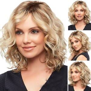 Women Ombre Blonde Curly Wig Short Wavy Hair Fashion Ladies Bob Party Full Wigs