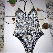 NWT Victorias Secret Plunge Zebra Print Strappy Back One Piece Swimsuit, Small