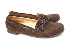 Women's Stubbs and Wootton Brown Suede Leather Boat Shoe Loafers Shoes 8.5 B