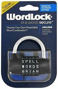 Pad Lock- Wordlock Resettable Word Combination Black/Silver/Pink