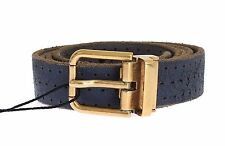 NWT $320 DOLCE & GABBANA Belt Mens Blue Leather Gold Buckle Waist 95cm / 38inch