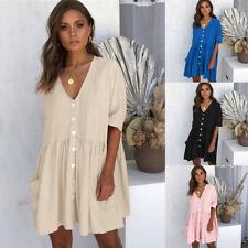 Women's Summer Smock Dress Tops Ladies Holiday Beach Casual Loose Shirt Sundress