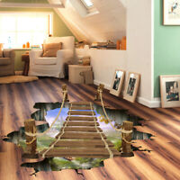 3D Bridge Printed  Wall Sticker Floor Removable Mural Decal Home Decor 90x60cm