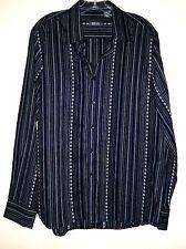 "Kenneth Cole ""Reaction"" Black/Gray Stripe Geometric Print Long Sleeve Shirt Sz M"