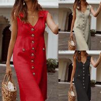 ZANZEA Women Sleeveless Low Cut Evening Party Long Shirt Dress Midi Dress Plus