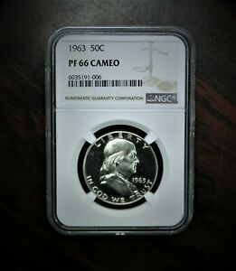 1963 Silver Franklin Half Dollar Proof NGC PF66 CAMEO  ⭐ 889 ⭐V3⭐