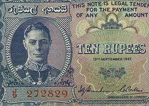 1942 Ceylon 10 Rupees KGVI  Banknote very fine