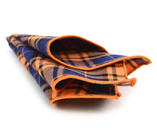 Pocket Square Navy & Orange Cotton Plaid Handkerchiefs